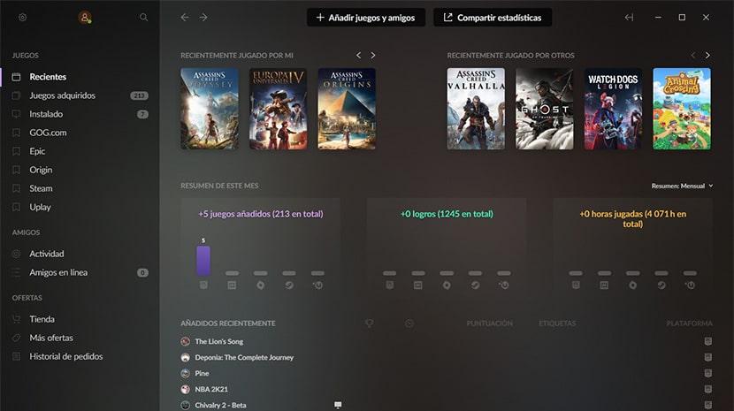 Interfaz de GOG Galaxy 2.0.