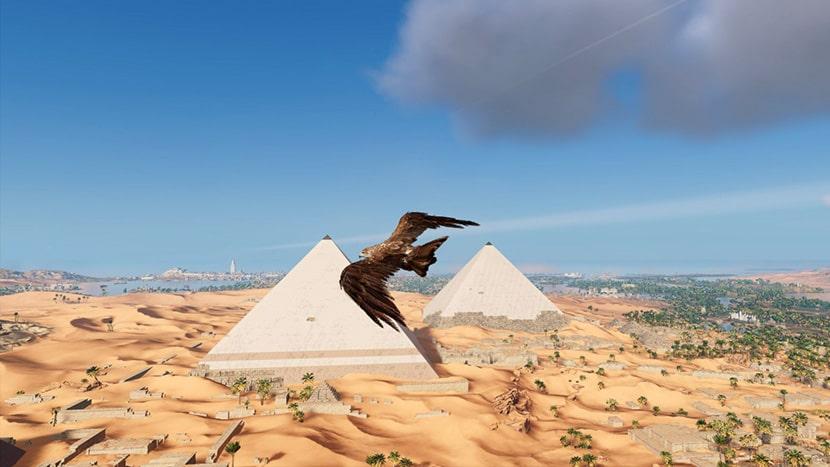 Senu vuela hacia las pirámides