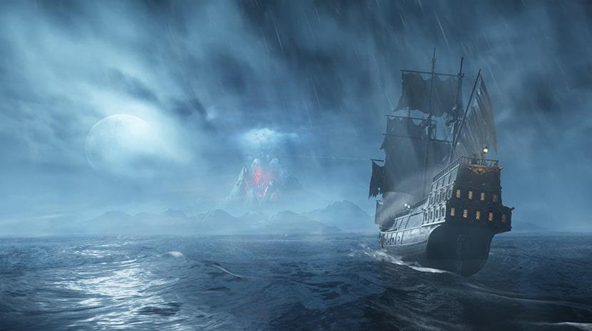 Galeón aproximándose a la isla de New World