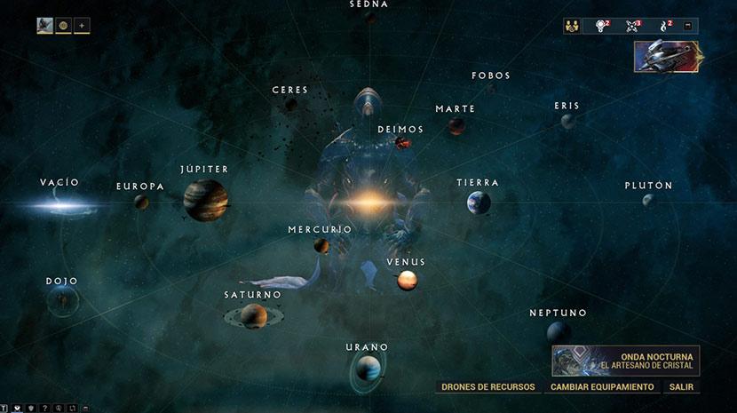 Mapa del Sistema Solar en Warframe.