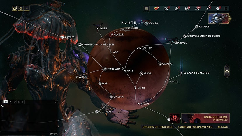 Mapa de Marte en Warframe.