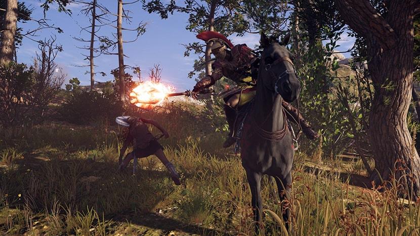 Alexios lucha a caballo.