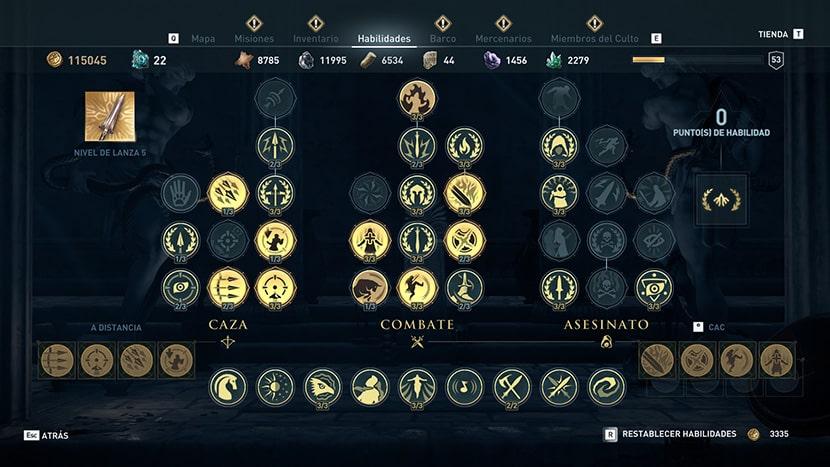 Árbol de habilidades de Assassin's Creed Odyssey.