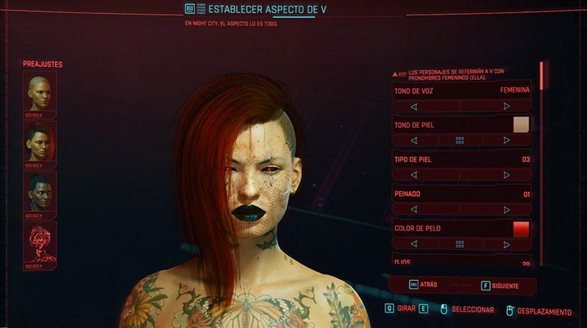 Interfaz de creación de personajes de Cyberpunk 2077.