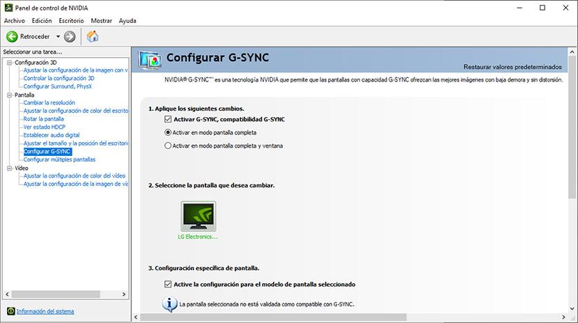Configuración de FreeSync en una tarjeta gráfica Nvidia.