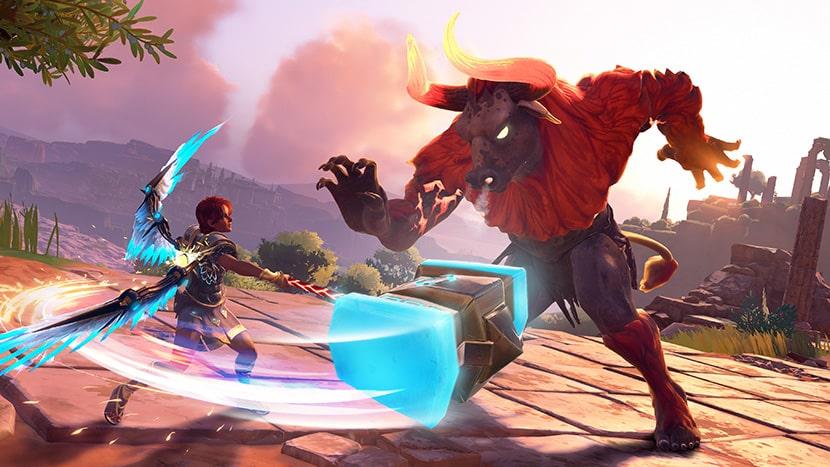 Fenyx, la protagonista de Immortals: Fenyx Rising lucha contra un minotauro.