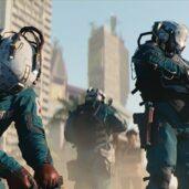 """Dos médicos """"parchean"""" a un herido en Cyberpunk 2077."""