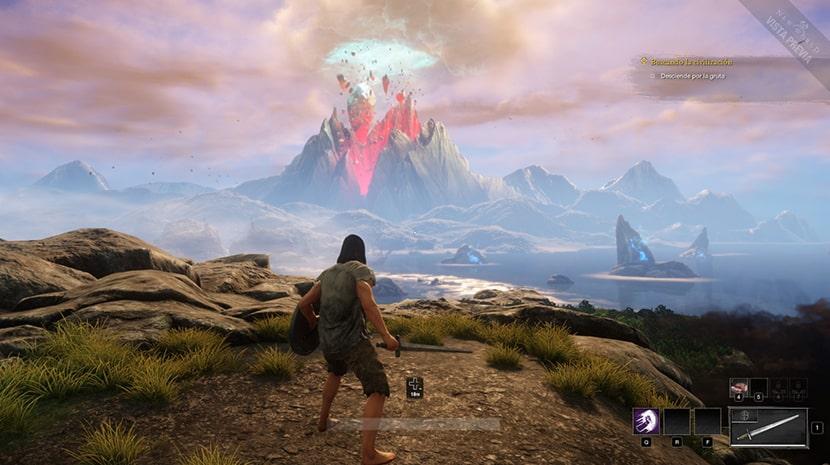 Isla de New World con su volcán de fondo.