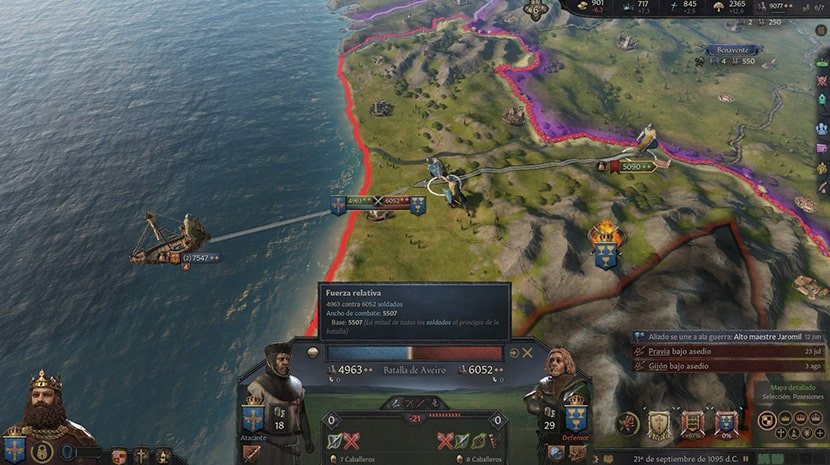 Batalla en Crusader Kings III.