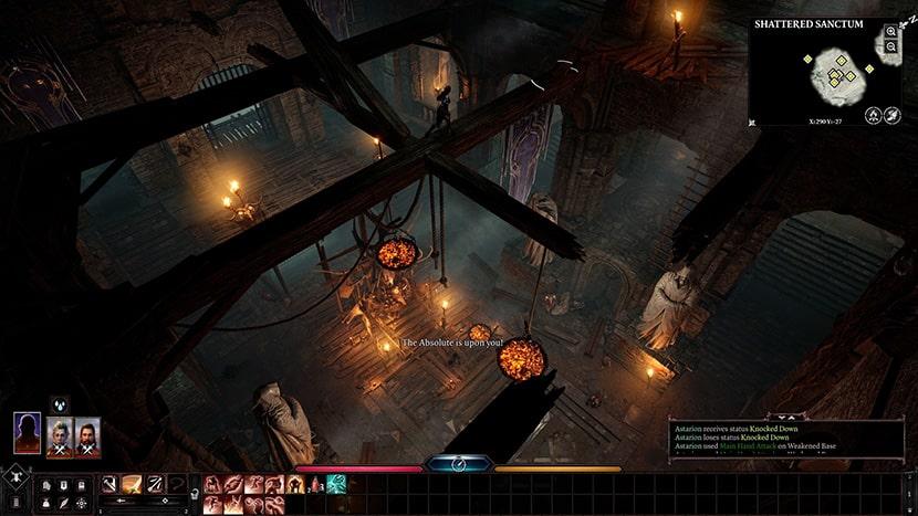 Interfaz de Baldur's Gate III.