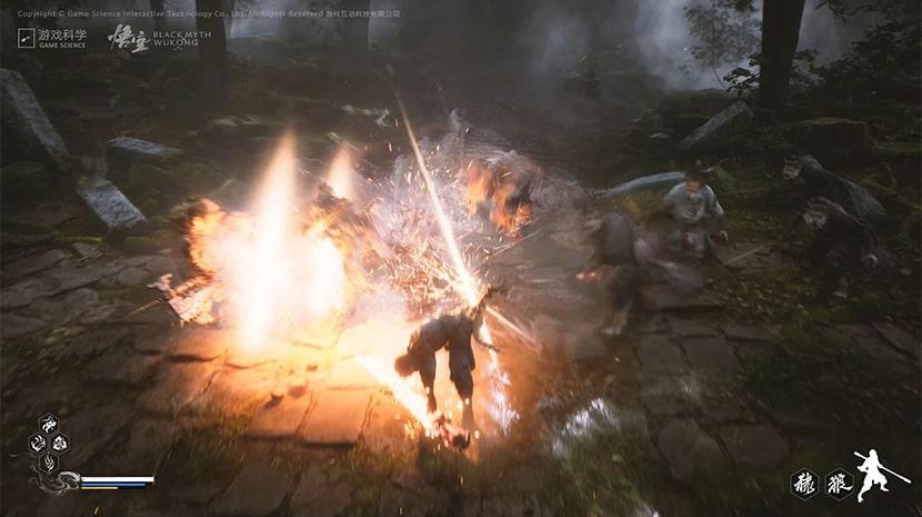 Combate en Black Myth: Wukong.