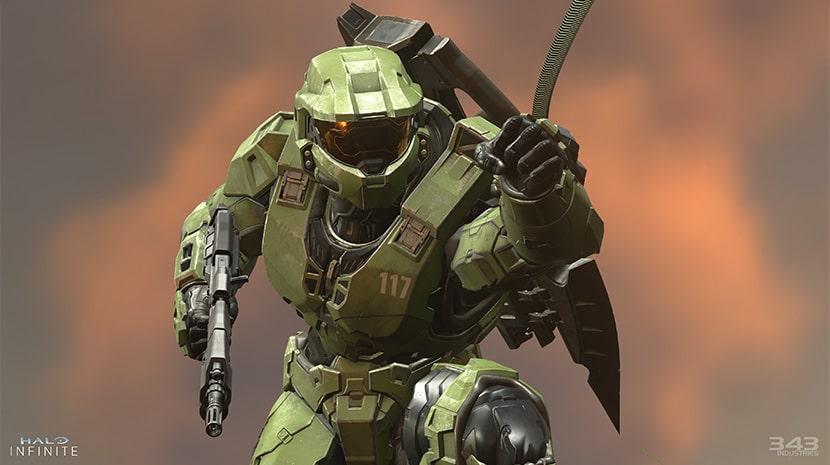 El Jefe Maestro con su gancho en Halo Infinity.