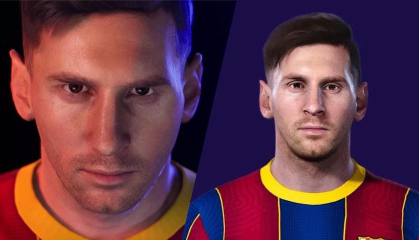 Comparativa del modelo de Messi en el PES 2022 y el PES 2021.