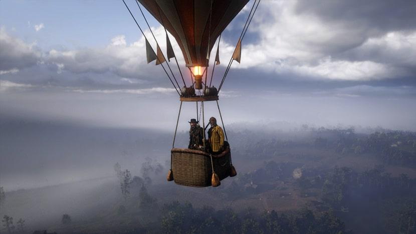 Arthur en un globo aerostático.