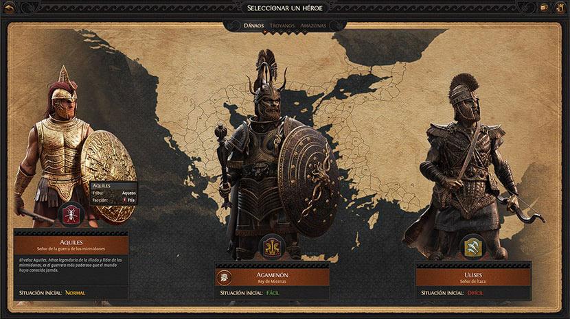 Pantalla de selección de héroes de A Total War Saga: Troy.