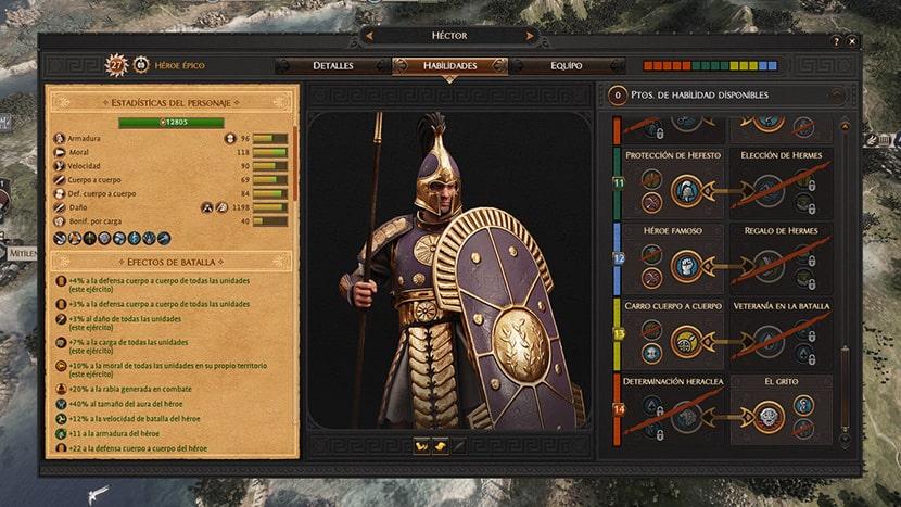 Héctor en el juego de estrategia de Troya.