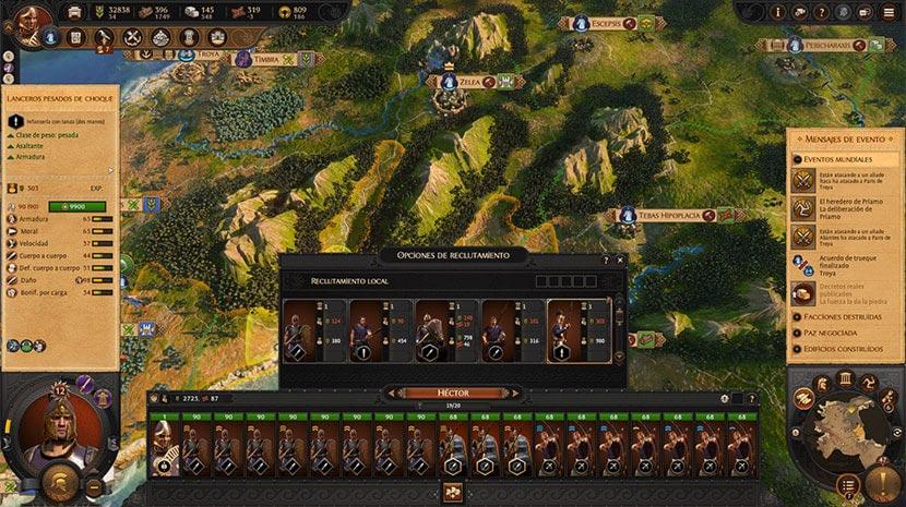 Interfaz de reclutamiento de A Total War Saga: Troy.