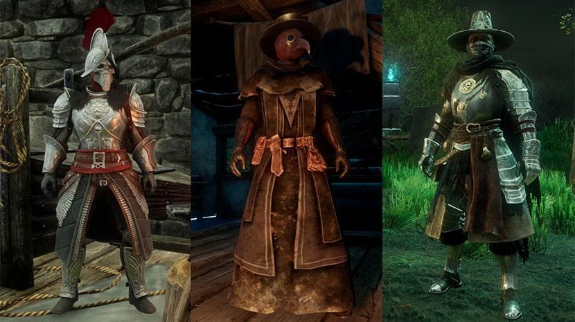 Miembros de las tres facciones de New World con sus respectivas armaduras.
