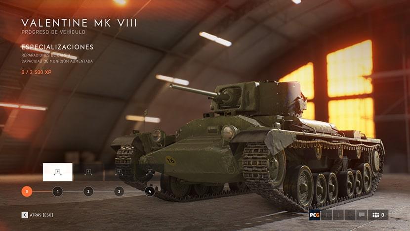 Tanque británico Valentine MK VIII en Battlefield V.