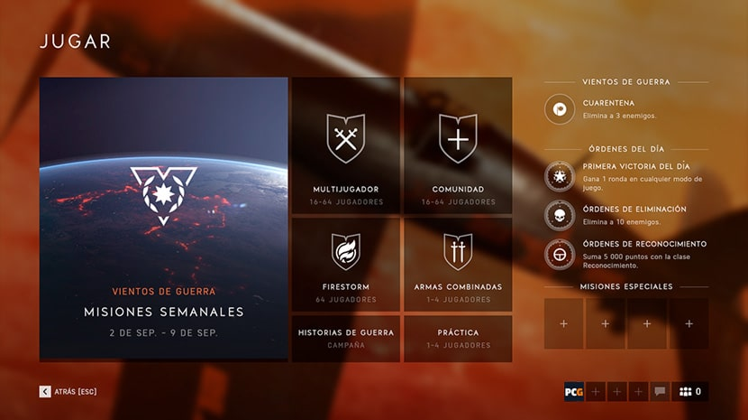 Selector de misiones jugador contra jugador en Battlefield V.