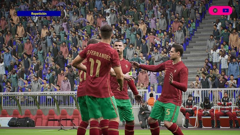 Cristiano Ronaldo celebrando un gol en eFootball 2022.